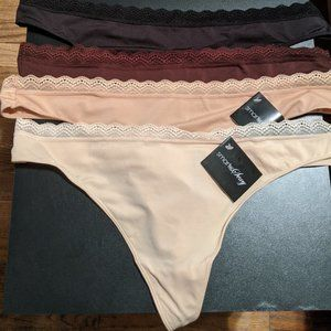 LOT OF 4 PLUS SIZE THONG PANTIES- SIZE 10 XXL-NEW